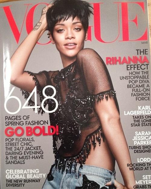 Fashion icon Rihanna third Vogue Cover